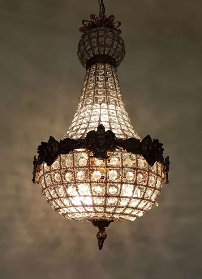 Empire Chandelier 65cm by 30cm 4 light 7kg warm soft background