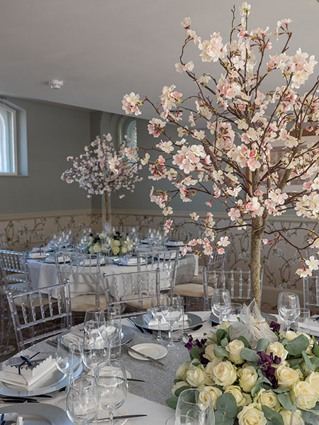 close up of blossom tree table centres