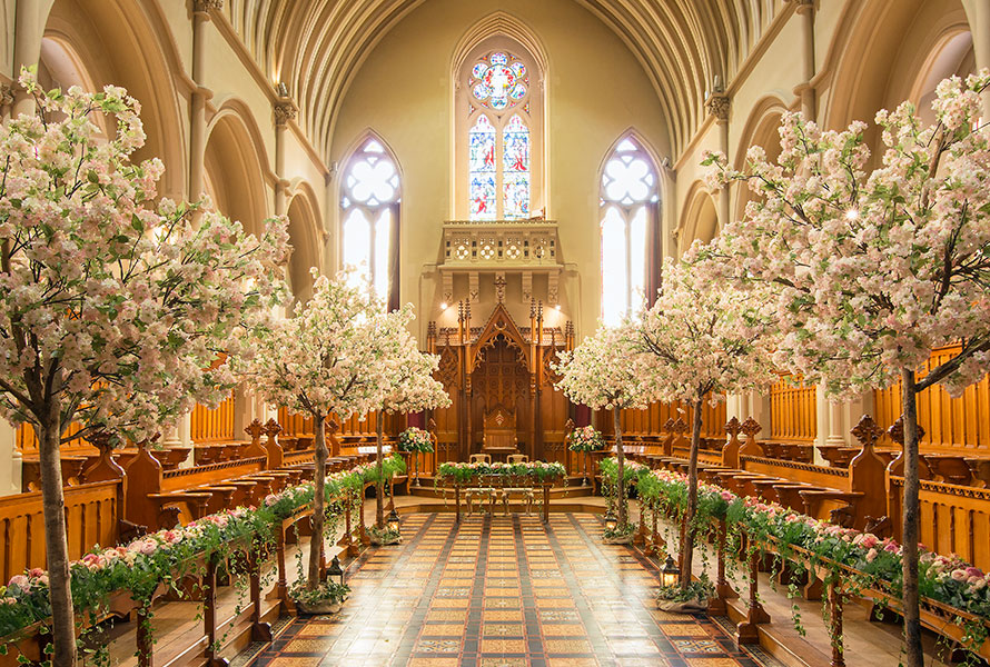 Blossom treey inside the chapel at Stanbrook Abbey
