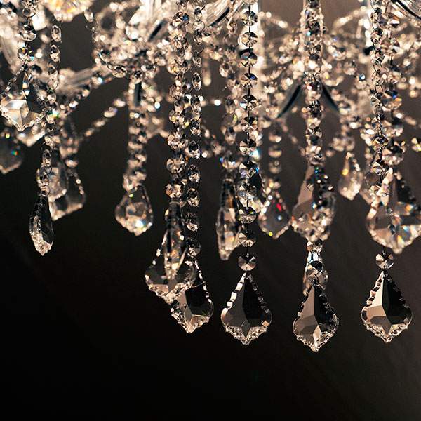 Marie Therese chandelier at Halnaker Park closeup of crystal details