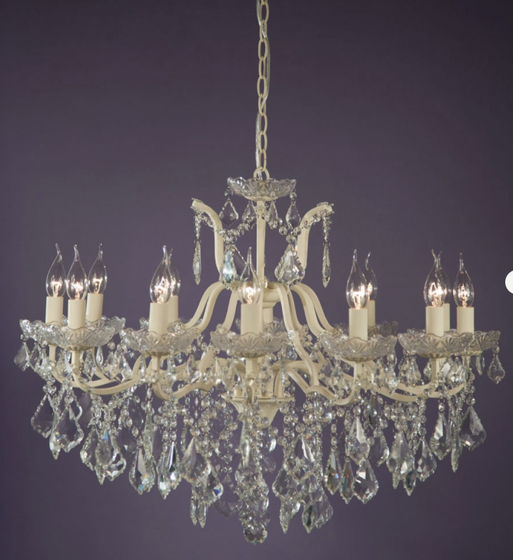 Marie Therese Crystal Chandelier 62cm by 84cm 12 light 10kg in purple background