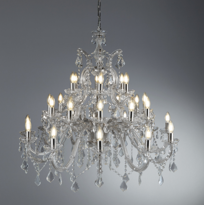 Chandelier lights on grey background 94cm by 98cm 30 light 16KG