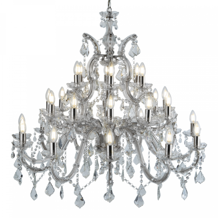 Chandelier white background 94cm by 98cm 30 light 16KG