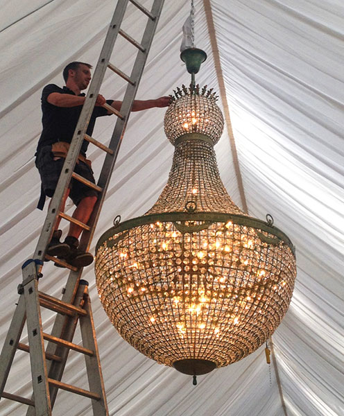 Empire Chandelier Install 2.2m by 1.2m 48 light 70kg