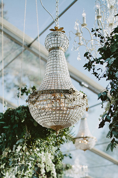 Stunning 90cm Empire chandelier in an outdoor clear marquee
