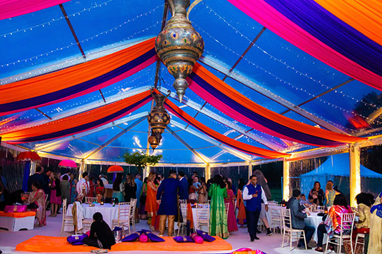 Moroccan lanterns in a colourful Indian wedding