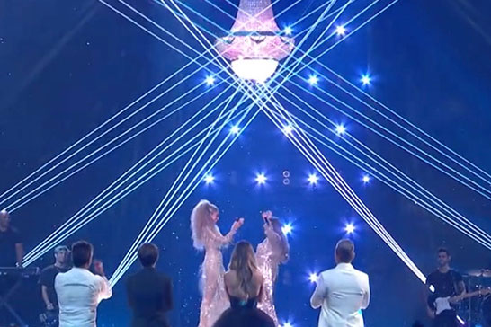 Standing ovation from the judges during the x Factor final - Leona Lewis stole the show under the glow of a Crescent Moon Empire chandelier