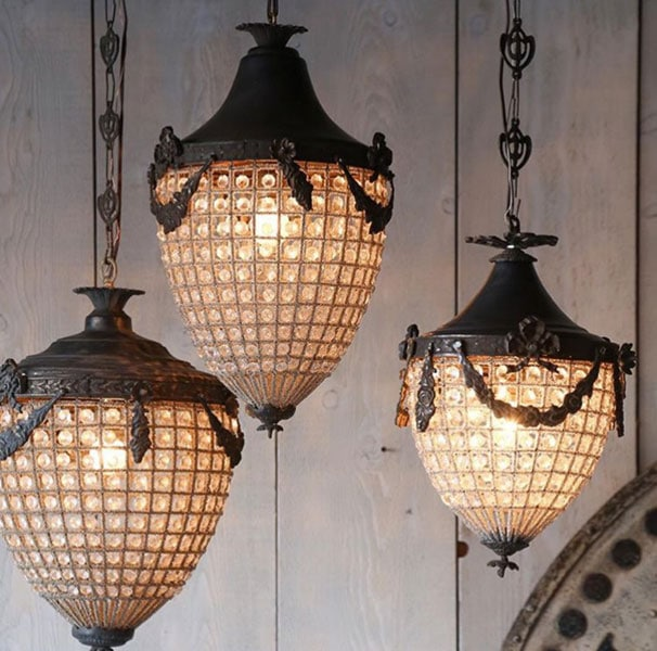A selection of Acorn Chandeliers between 50 and 70cm high