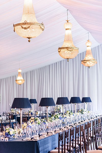 1.65 metre Empire chandeliers at a wedding, available to hire