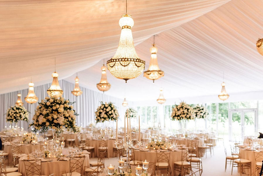 1.15 metre Empire chandeliers at a wedding party, available to hire in Somerset