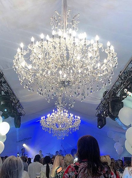 1.5 Metre Marie Therese Chandelier for hire by Crescent Moon