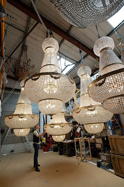 Giant 3.5 meter Empire chandeliers for hire from Crescent Moon