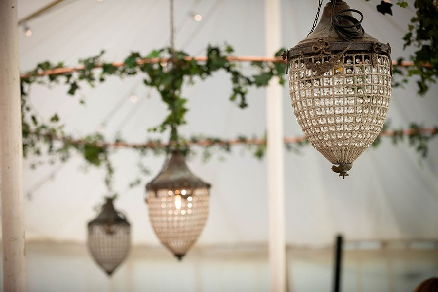 Acorn chandeliers for hire at Crescent Moon event stylists in Frome