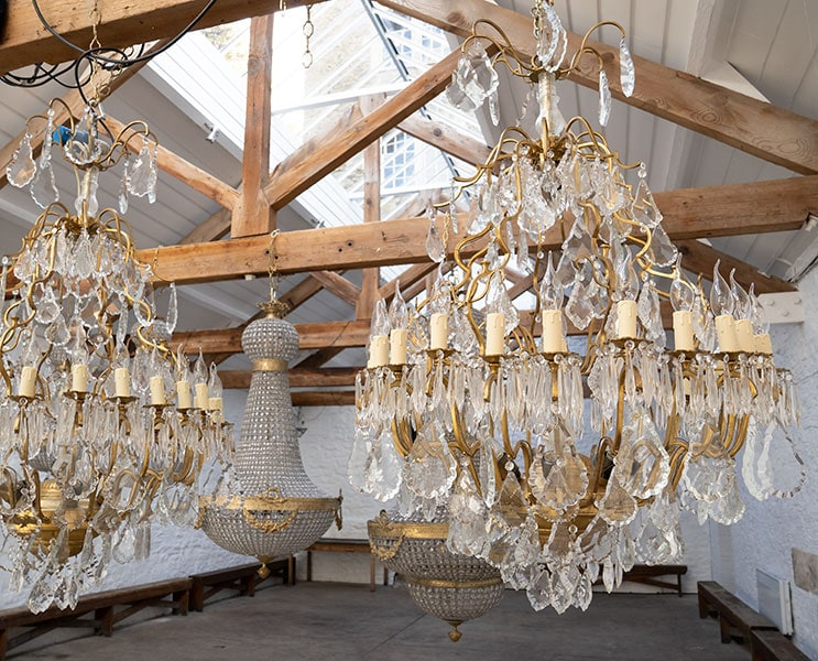Vintage Marie Therese chandeliers for hire at Crescent Moon events specialist in chandeliers