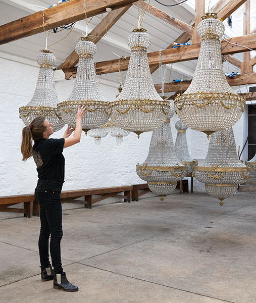 Empire Chandeliers 1.15 metres for hire from Crescent Moon