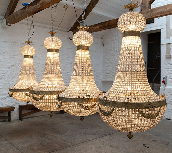 Empire Chandeliers 1.65 metres for hire from Crescent Moon