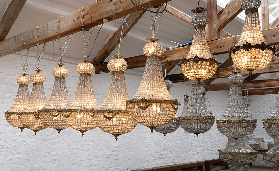 Empire Chandeliers of all sizes available to hire at Crescent Moon