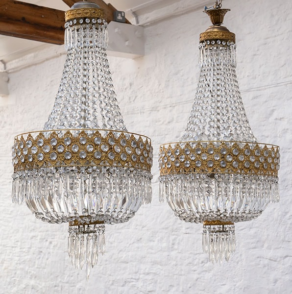 Vintage Empire Necklace Chandeliers - pair